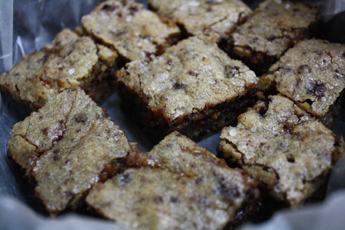 Sweet & salty bourbon blondies